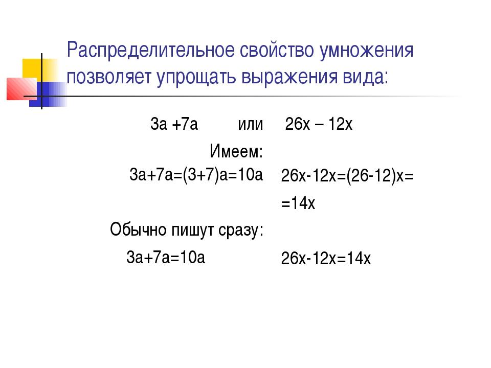 Распределительное свойство умножения позволяет упрощать выражения вида: 3а +7...
