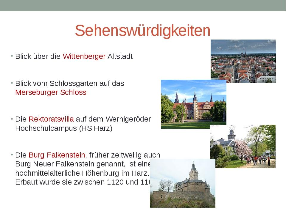 Sehenswürdigkeiten Blick über die Wittenberger Altstadt Blick vom Schlossgart...