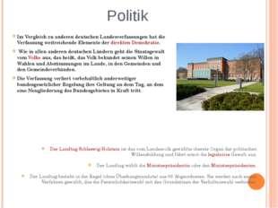 Politik Im Vergleich zu anderen deutschen Landesverfassungen hat die Verfassu