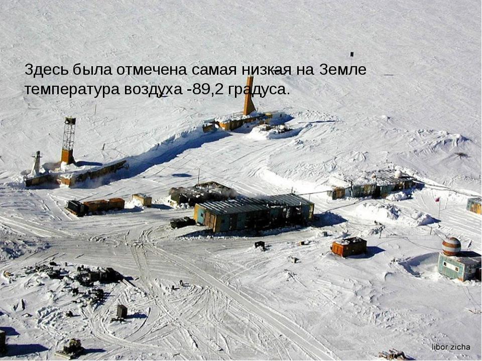 Здесь была отмечена самая низкая на Земле температура воздуха -89,2 градуса.