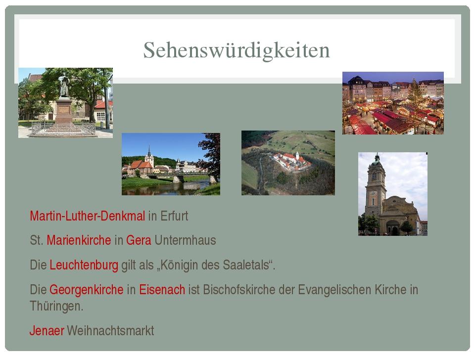 Sehenswürdigkeiten Martin-Luther-Denkmal in Erfurt St. Marienkirche in Gera U...