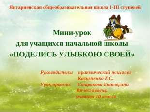 Янтарненская общеобразовательная школа I-III ступеней Мини-урок для учащихся
