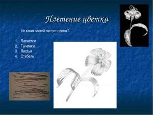 Плетение цветка Из каких частей состоит цветок? Лепестки Тычинки Листья Стебель