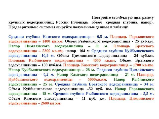 Постройте столбчатую диаграмму крупных водохранилищ России (площадь, объем,...