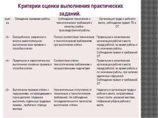 Критерии оценки выполнения практических заданий. оценка Овладение приемами ра