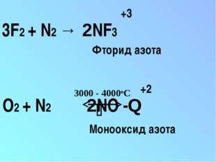 3F2 + N2 → 2NF3 +3 O2 + N2 2NO -Q 3000 - 4000oС  +2 Фторид азота Монооксид а