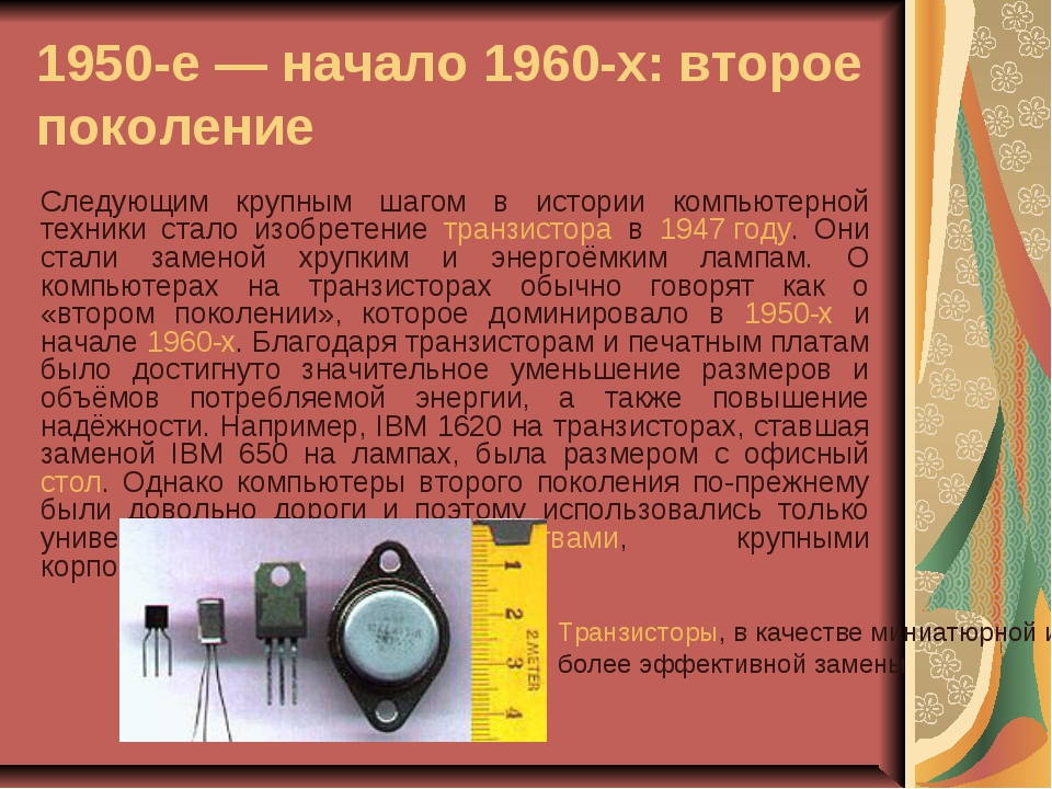1950-е— начало 1960-х: второе поколение Следующим крупным шагом в истории ко...