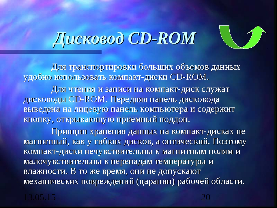 Дисковод CD-ROM Для транспортировки больших объемов данных удобно использова...
