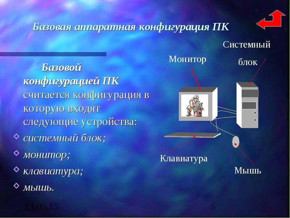 Базовая аппаратная конфигурация ПК Базовой конфигурацией ПК считается конфи...