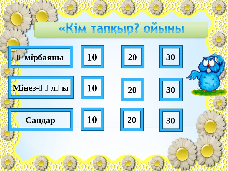10 20 30 20 10 10 20 30 30 Өмірбаяны Мінез-құлқы Сандар