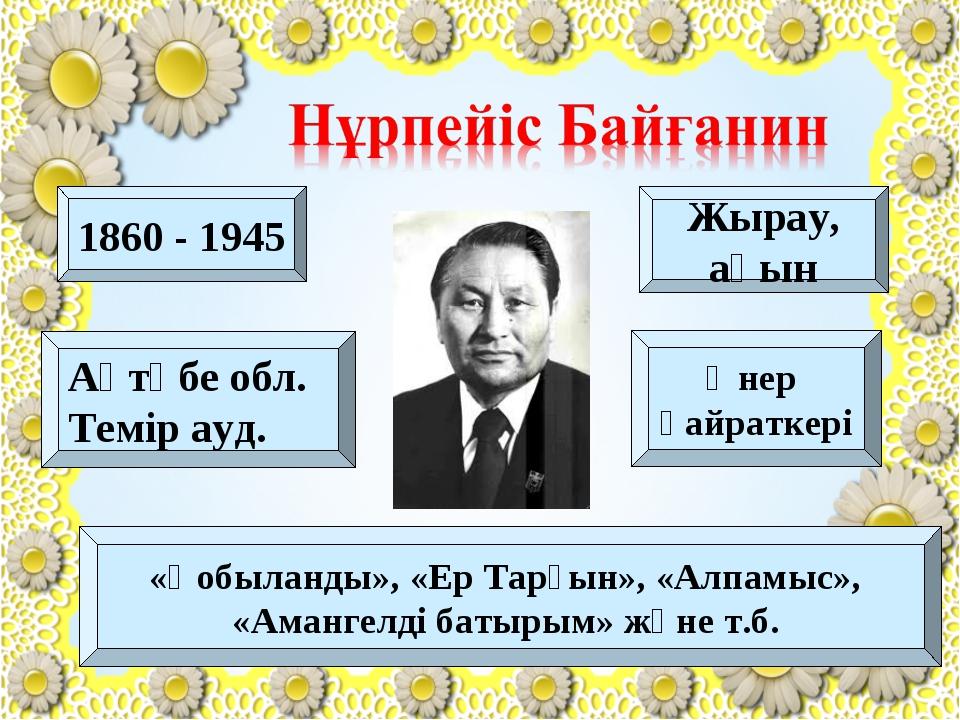 1860 - 1945 Жырау, ақын Өнер қайраткері Ақтөбе обл. Темір ауд. «Қобыланды»,...