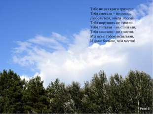 Тебе не раз враги грозили, Тебя сметали – не смели, Любовь моя, земля Россия,