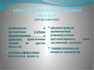 КРИТЕРИИ ВНЕШНЕЙ ОЦЕНКИ ПРОЕКТА (ПРОДОЛЖЕНИЕ) необходимая и достаточная глуби