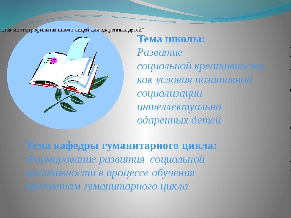 Тема школы: Развитие социальной креативности как условия позитивной социализа...