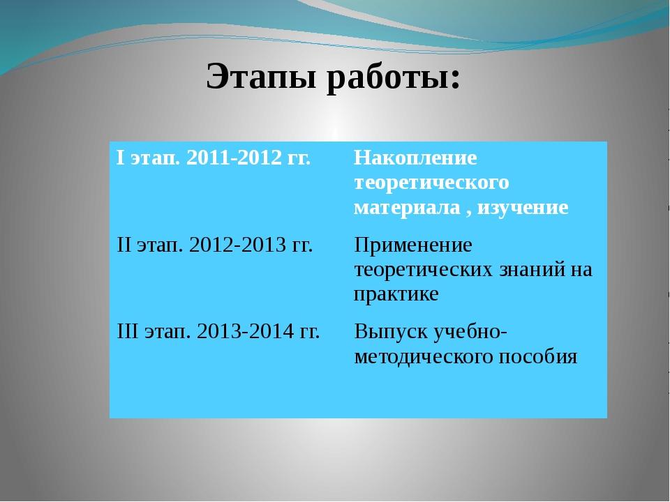 Этапы работы: Iэтап.2011-2012 гг. Накоплениетеоретического материала , изучен...