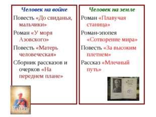 Человек на войне Повесть «До свиданья, мальчики» Роман «У моря Азовского» Пов