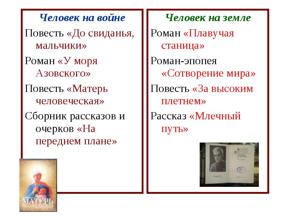 Человек на войне Повесть «До свиданья, мальчики» Роман «У моря Азовского» Пов...