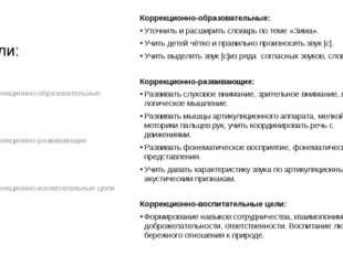 Цели: Коррекционно-образовательные: Уточнить и расширить словарь по теме «Зим