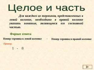 Для каждого из терминов, представленных в левой колонке, необходимо в правой