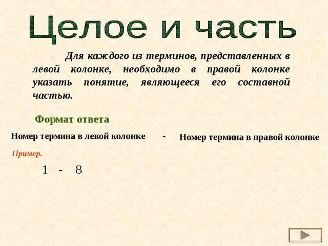 Для каждого из терминов, представленных в левой колонке, необходимо в правой...