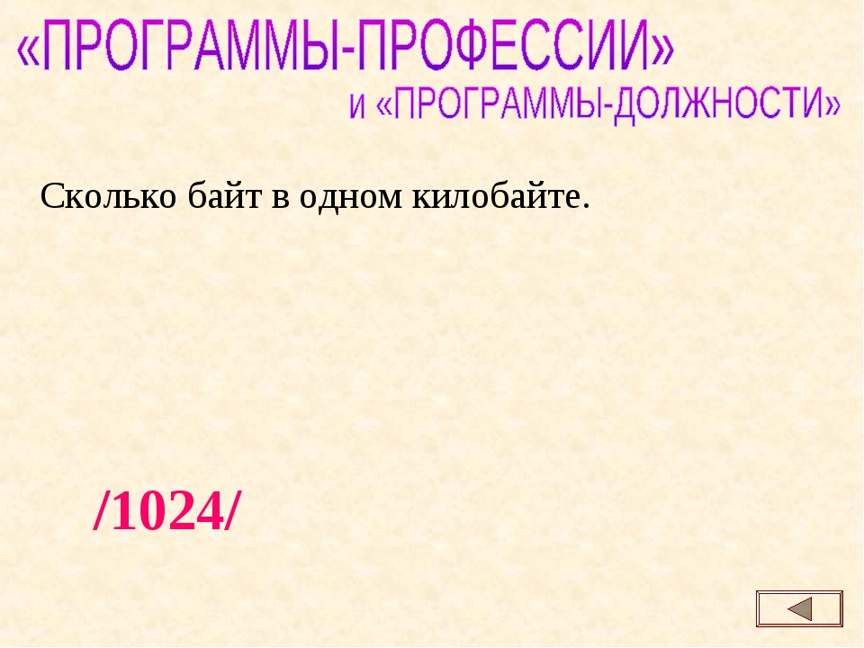 /1024/ Сколько байт в одном килобайте.