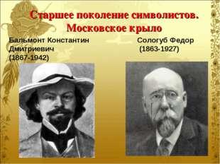Старшее поколение символистов. Московское крыло Бальмонт Константин Дмитриеви