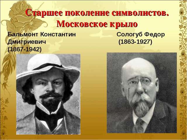Старшее поколение символистов. Московское крыло Бальмонт Константин Дмитриеви...