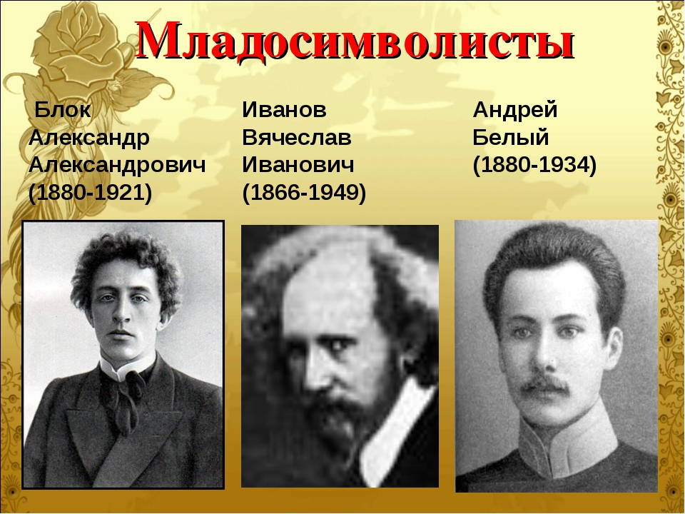 Младосимволисты Блок Александр Александрович (1880-1921) Андрей Белый (1880-1...