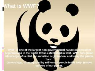 WWF is one of the largest non-governmental nature conservation organizations