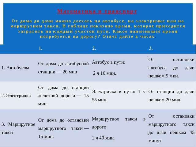 Математика и транспорт От дома до дачи можно доехать на автобусе, на электри...