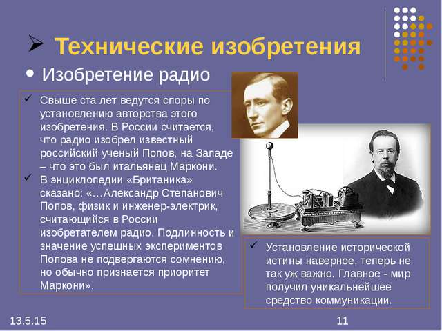 Технические изобретения Изобретение радио Свыше ста лет ведутся споры по уста...