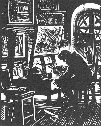 C. Юдовин. «В мастерской художника». Гравюра. 1944.