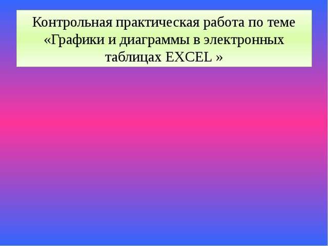 Контрольная практическая работа по теме «Графики и диаграммы в электронных та...
