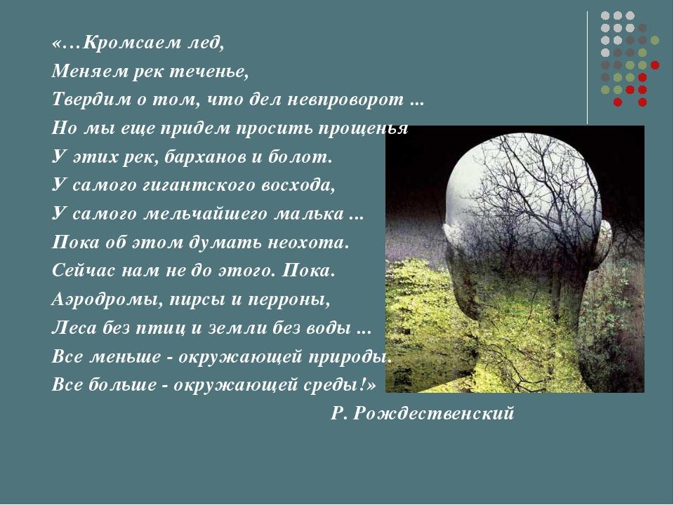 «…Кромсаем лед, Меняем рек теченье, Твердим о том, что дел невпроворот ... Но...