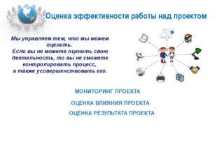 Оценка эффективности работы над проектом  МОНИТОРИНГ ПРОЕКТА  ОЦЕНКА ВЛИЯН