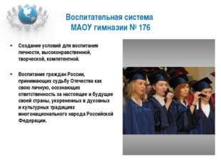 Воспитательная система МАОУ гимназии № 176 Создание условий для воспитания ли