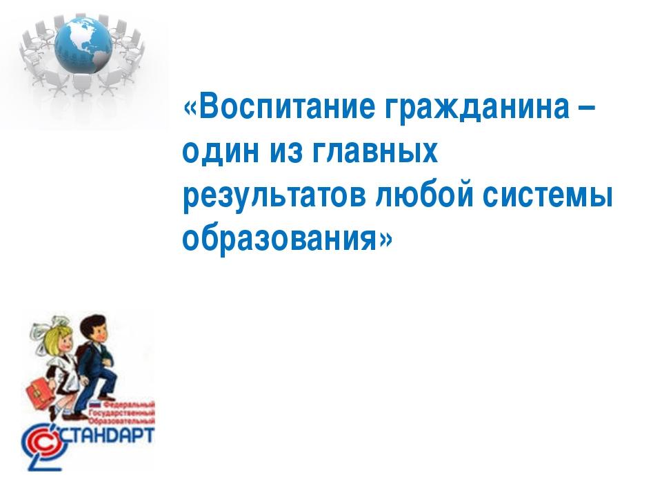«Воспитание гражданина – один из главных результатов любой системы образования»