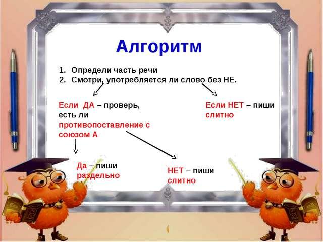 Алгоритм Определи часть речи Смотри, употребляется ли слово без НЕ. Если ДА –...
