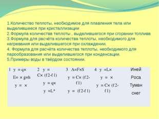 1.Количество теплоты, необходимое для плавления тела или выделившееся при кри
