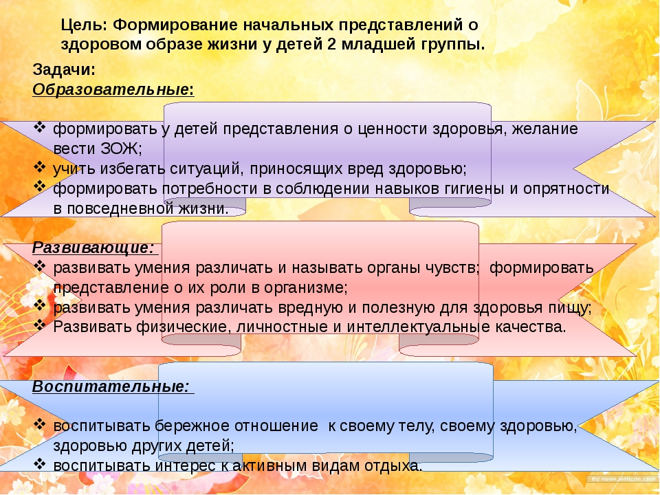 Цель: Формирование начальных представлений о здоровом образе жизни у детей 2...