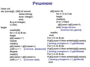 Решение Uses crt; var p:array[1..100] of record 		name:string; 		sum: integer