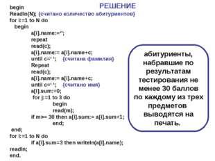 begin Readln(N); {cчитано количество абитуриентов} for i:=1 to N do begin a[