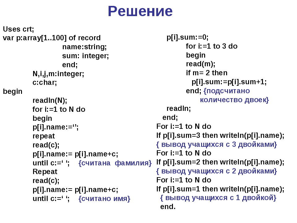 Решение Uses crt; var p:array[1..100] of record 		name:string; 		sum: integer...