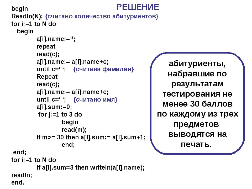 begin Readln(N); {cчитано количество абитуриентов} for i:=1 to N do begin a[...