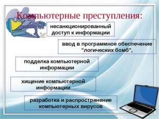 Компьютерные преступления: несанкционированный доступ к информации ввод в про