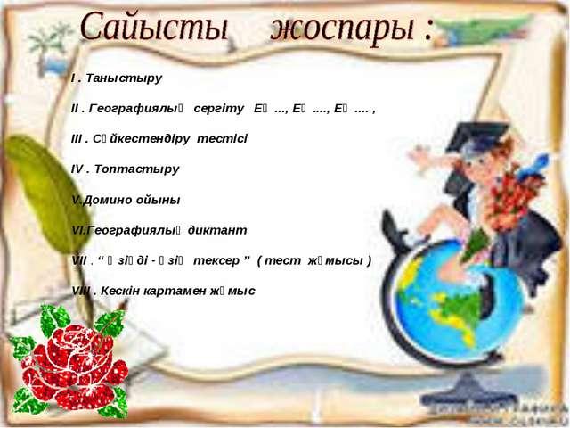І . Таныстыру ІІ . Географиялық сергіту Ең ..., Ең ...., Ең .... , ІІІ . Сәйк...