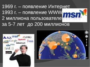 1969 г. – появление Интернет 1993 г. – появление WWW 2 миллиона пользователей