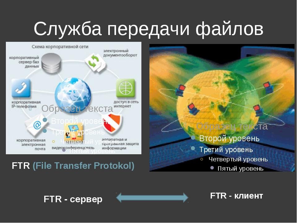 Служба передачи файлов FTR (File Transfer Protokol) FTR - сервер FTR - клиент