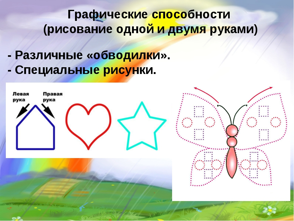 Графические способности (рисование одной и двумя руками) - Различные «обводил...