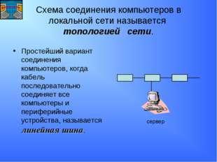 Схема соединения компьютеров в локальной сети называется топологией сети. Про